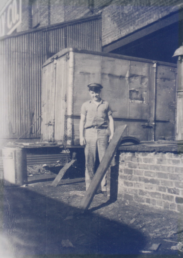 "Founder C.J.""Bud"" Calabria working on the docks, as a young man."